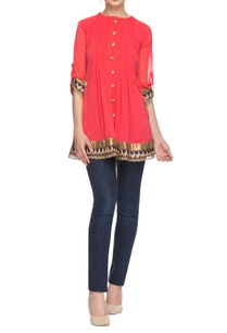 coral-orange-kurta-with-pleated-details