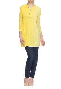 lemon-yellow-faded-kurta-with-pintucks