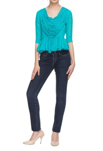 turquoise-pleated-peplum-top