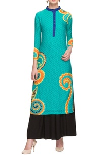 aqua-floral-motif-applique-tunic