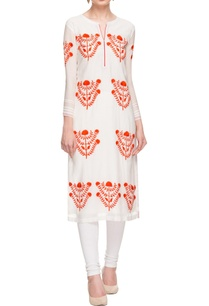 white-orange-floral-embroidered-tunic