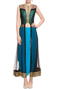 black-sheer-high-low-kurta-a-cowl-skirt