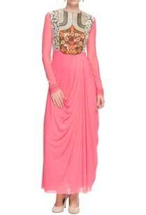 bubblegum-pink-draped-embellished-kurta-churidar