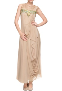 beige-draped-embellished-kurta-churidar