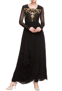 black-embellished-draped-kurta-churidar
