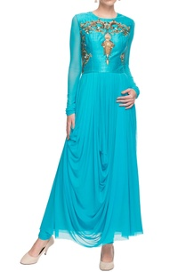 turquoise-embellished-draped-kurta-churidar