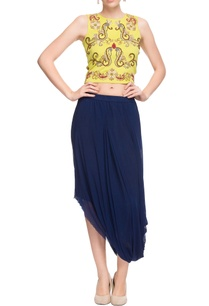 lemon-yellow-crop-top-navy-blue-draped-skirt
