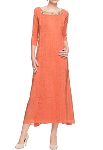 a-rust-mid-length-dress-with-pin-tuck-and-textured-details