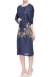 navy-blue-zipper-embroidered-dress