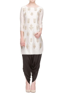 white-zipper-embroidered-kurta-with-black-cowl-pants