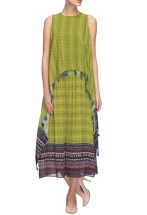 parrot-green-printed-layered-dress-with-tassels