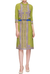 parrot-green-printed-dress-with-waistband