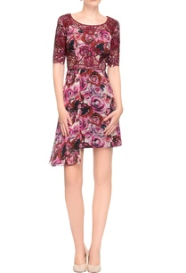 multi-colored-rose-print-cutwork-embroidered-dress
