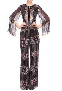 black-printed-jumpsuit-with-cape-sleeves