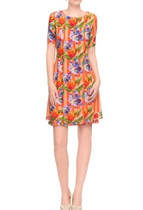 orange-peach-striped-floral-print-dress