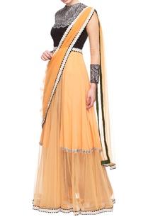 light-orange-layered-embellished-dress-with-drape
