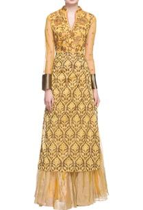 yellow-printed-kurta-with-skirt