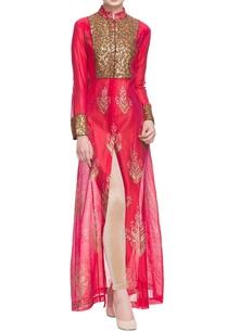 red-sequin-embellished-front-slit-kurta