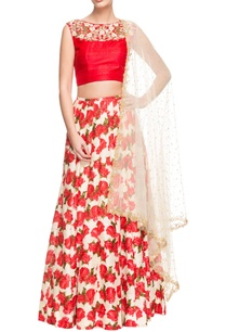 red-and-white-floral-printed-crop-top-and-lehenga-set