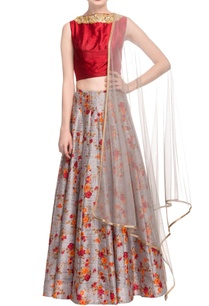 grey-red-floral-print-lehenga-set-with-gold-work