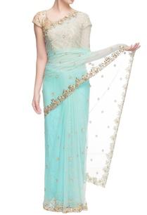 aqua-blue-mirror-work-sari-blush-blouse