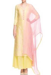 yellow-pink-leaf-embroidered-kurta-set
