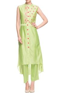 green-pink-high-low-kurta-with-pants