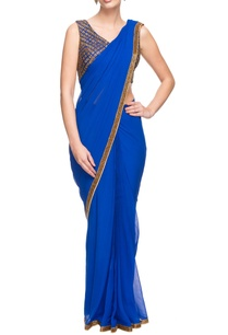 cobalt-blue-sari-with-gold-work-blouse