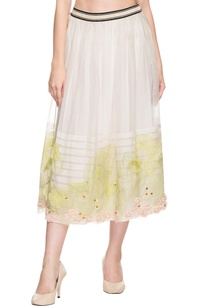 white-green-floral-thread-embroidered-midi-skirt