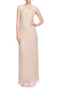 light-beige-floral-applique-dress