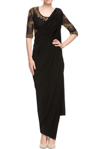 black-sari-with-embellished-open-back-blouse