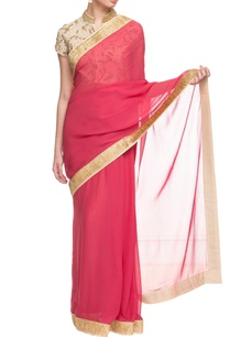 red-cream-gold-embroidered-sari