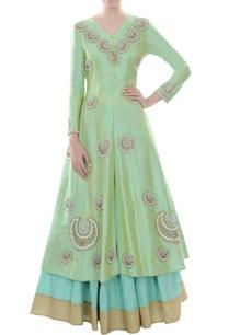 green-embellished-kurta-with-lehenga