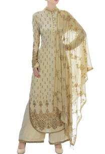 ivory-gold-mandarin-collar-embellished-kurta-set