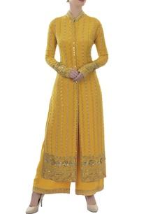 mustard-yellow-embellished-kurta-palazzo