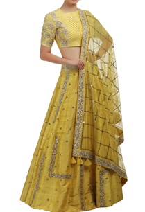 yellow-sequin-and-rose-embroidered-blouse-and-lehenga-set
