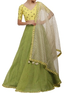 yellow-and-green-v-neck-blouse-and-lehenga-set