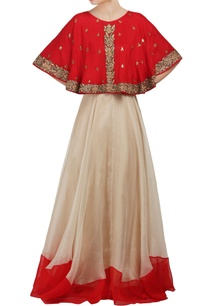 red-and-white-cape-crop-top-and-lehenga