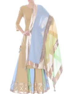 beige-kurta-with-multi-colored-sharara-pants-dupatta