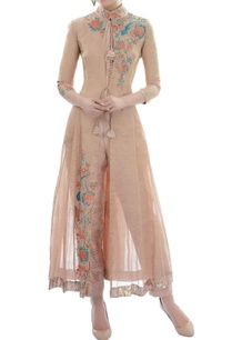 light-brown-embroidered-kurta-set