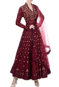 maroon-mirror-work-anarkali-set