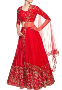 red-embroidered-lehenga-set