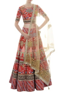 red-thread-embroidered-lehenga-set