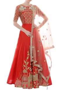red-gold-sequin-embellished-anarkali-with-dupatta