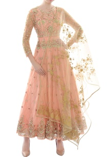 peach-sequin-bead-work-anarkali-with-dupatta