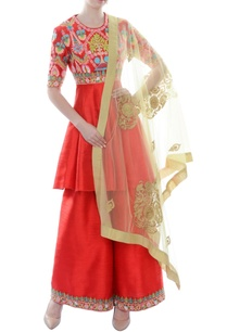 red-kurta-set-with-colorful-threadwork