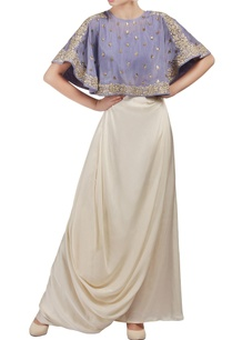 purple-and-white-embroidered-cape-crop-top-and-draped-skirt