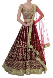 ox-blood-gota-patti-lehenga-set