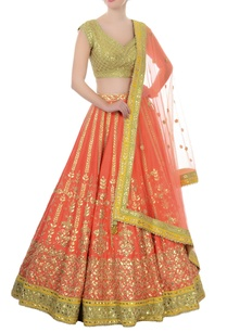 orange-green-gota-patti-lehenga-set