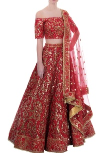 red-mirror-work-lehenga-set